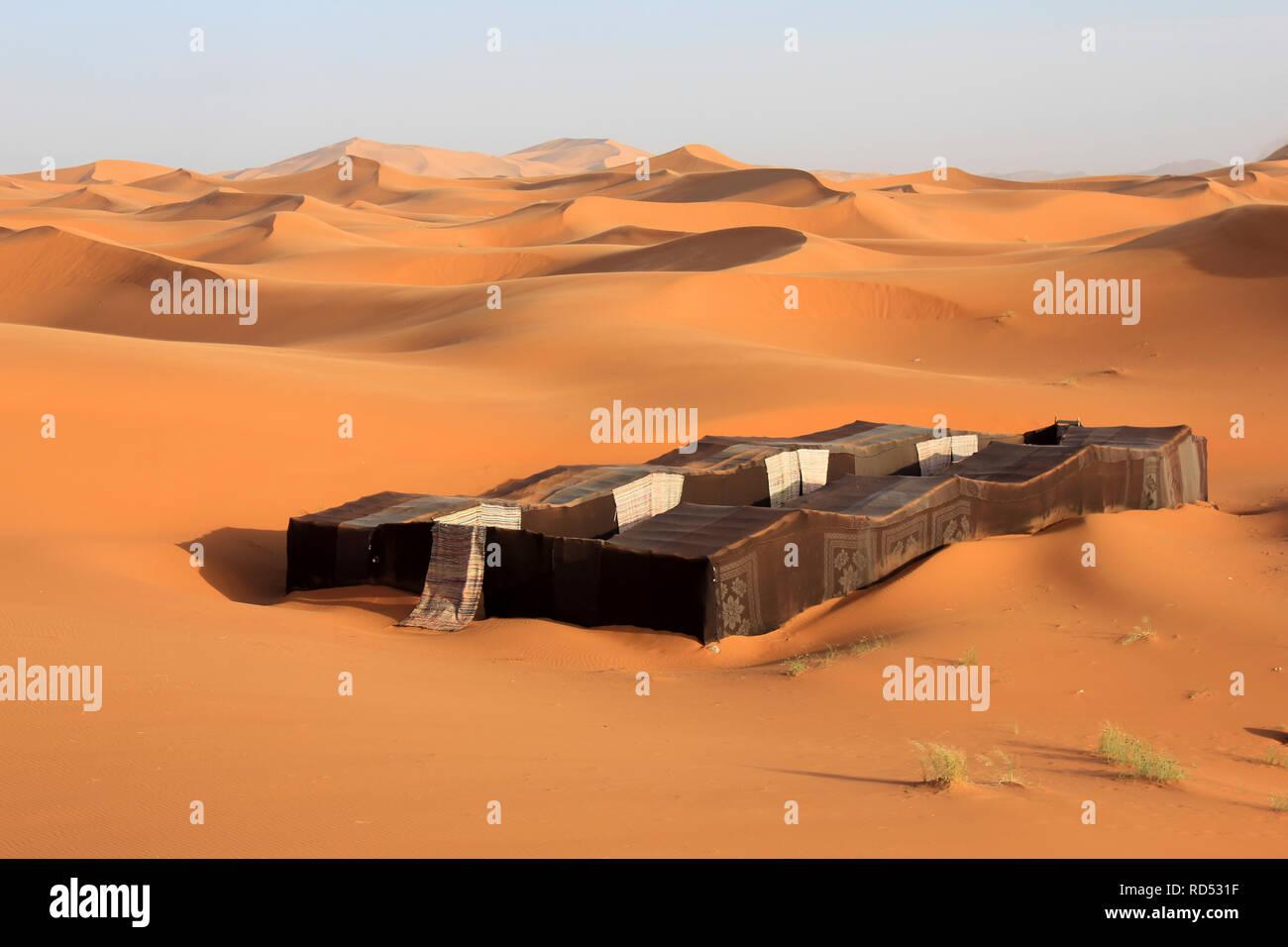 Bedouin Tent - Erg Chebbi, Morocco - Stock Image