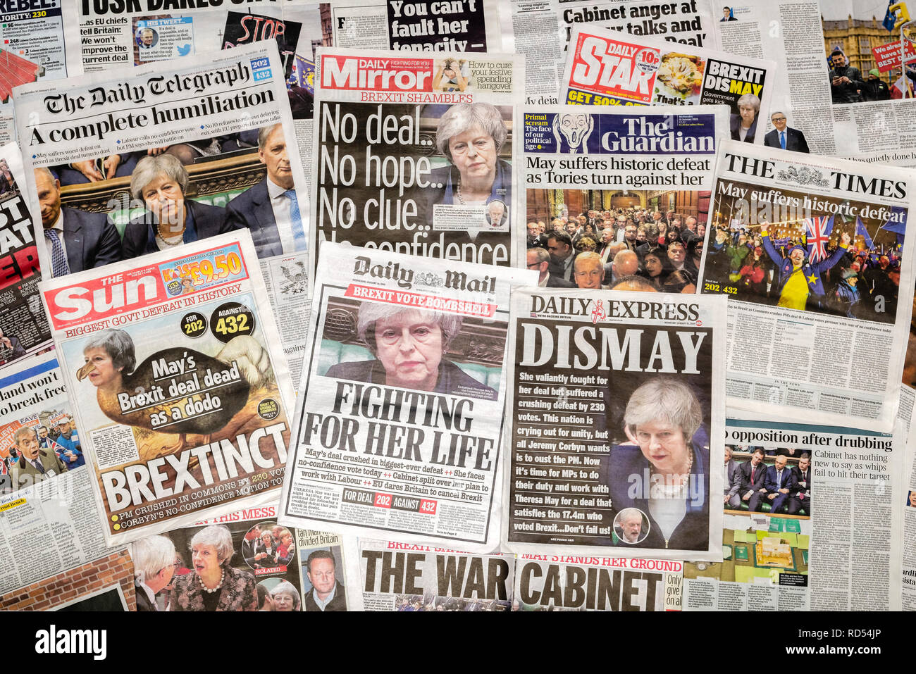British newspaper front pages reporting that Prime Minister Theresa May's Brexit Deal has been rejected in parliament - Stock Image