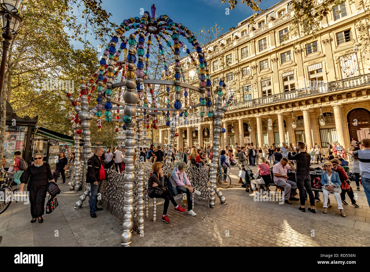 The colourful Cuploa or archway made made from Glass beads at The Entrance to Palais Royal – Musée du Louvre Metro station at  Place Colette ,Paris - Stock Image