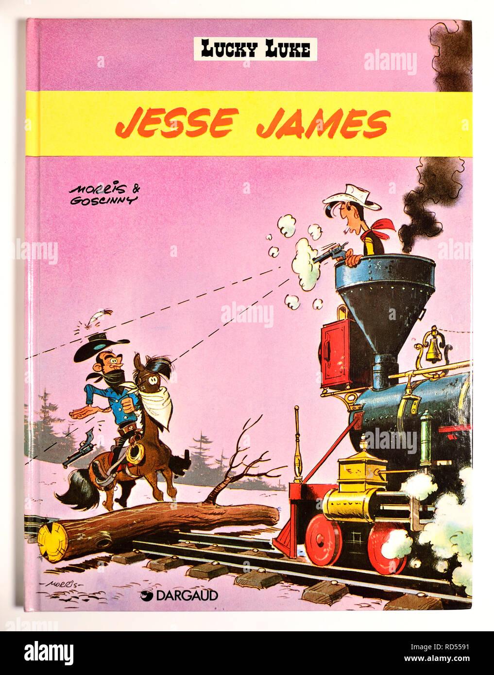 Lucky Luke comic book - Jesse James - Stock Image