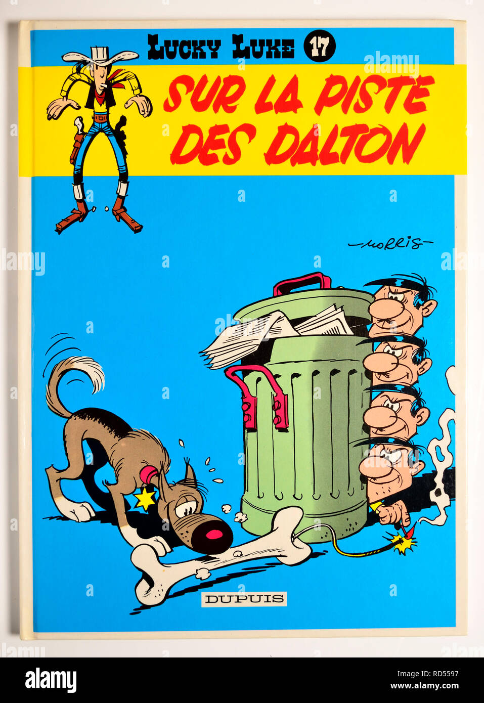 Lucky Luke comic book - Sur la Piste des Dalton (on the Trail of the Daltons) - Stock Image