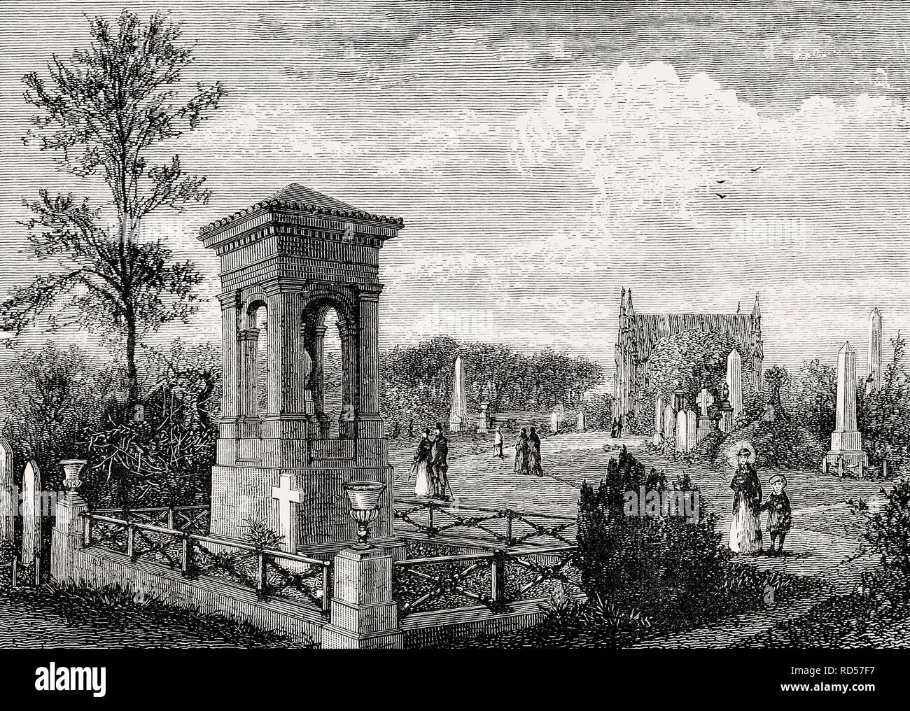 Warriston Cemetery, Edinburgh, Scotland, 19th century - Stock Image