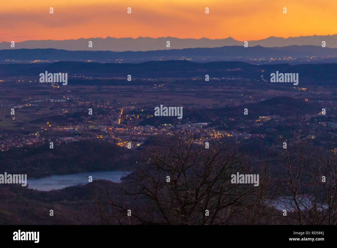 Autumn Sunset View towards Turin from Andrate in Piedmont, Piemonte region of Italy - Stock Image