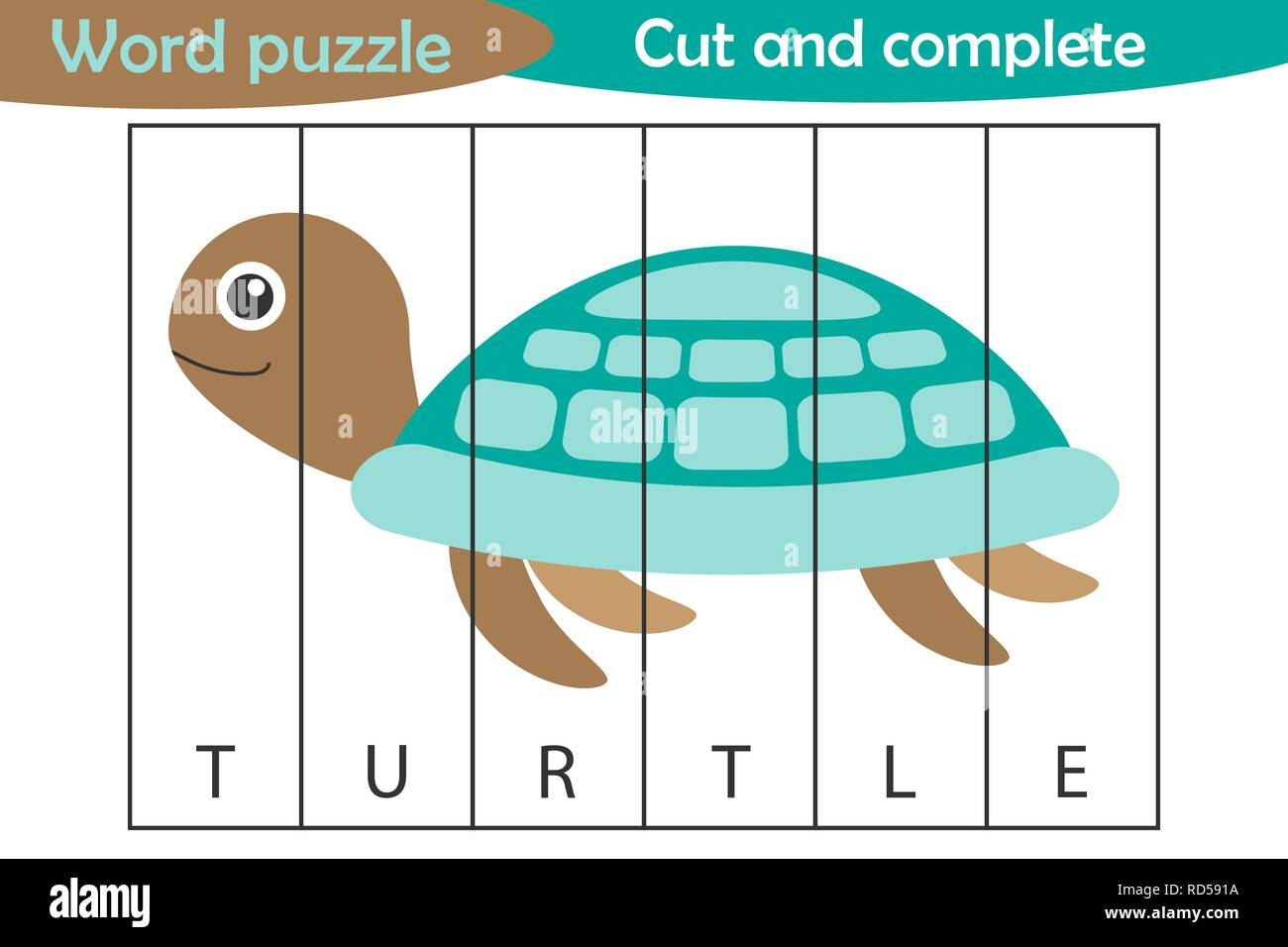 Word puzzle, turtle in cartoon style, education game for development of preschool children, use scissors, cut parts of the image and complete the pict - Stock Vector