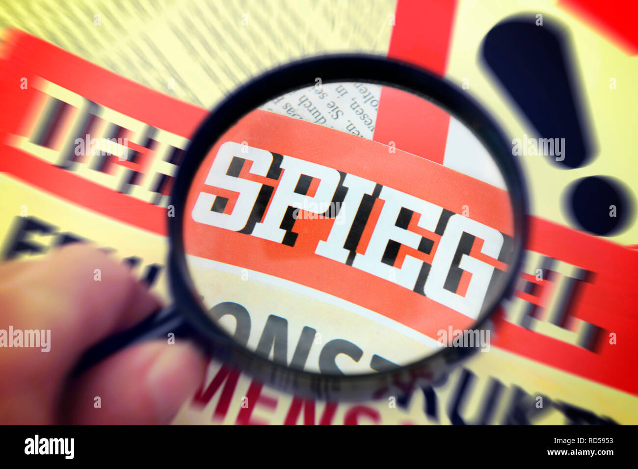 Magazine Spiegel under the magnifying glass, uncovered case of fraud with reports by employees, Magazin Der Spiegel unter der Lupe, aufgedeckter Betru Stock Photo