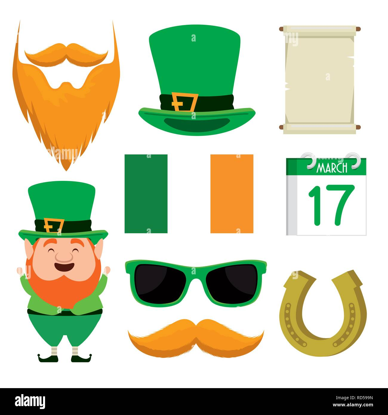 set st partick hat with beard to celebration holiday - Stock Image