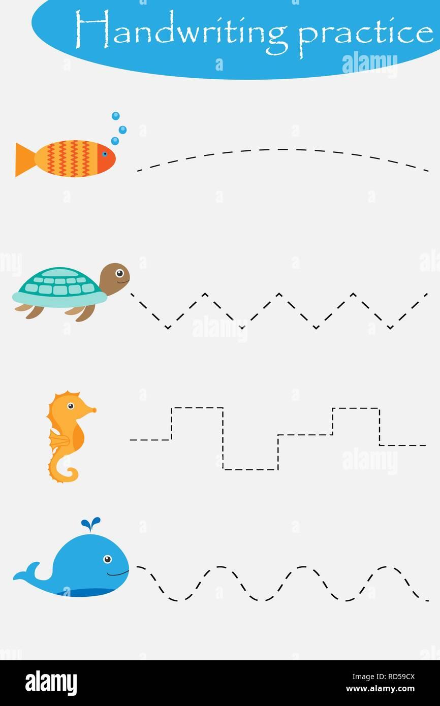 Ocean and sea animals wheel, fish, turtle, seahorse