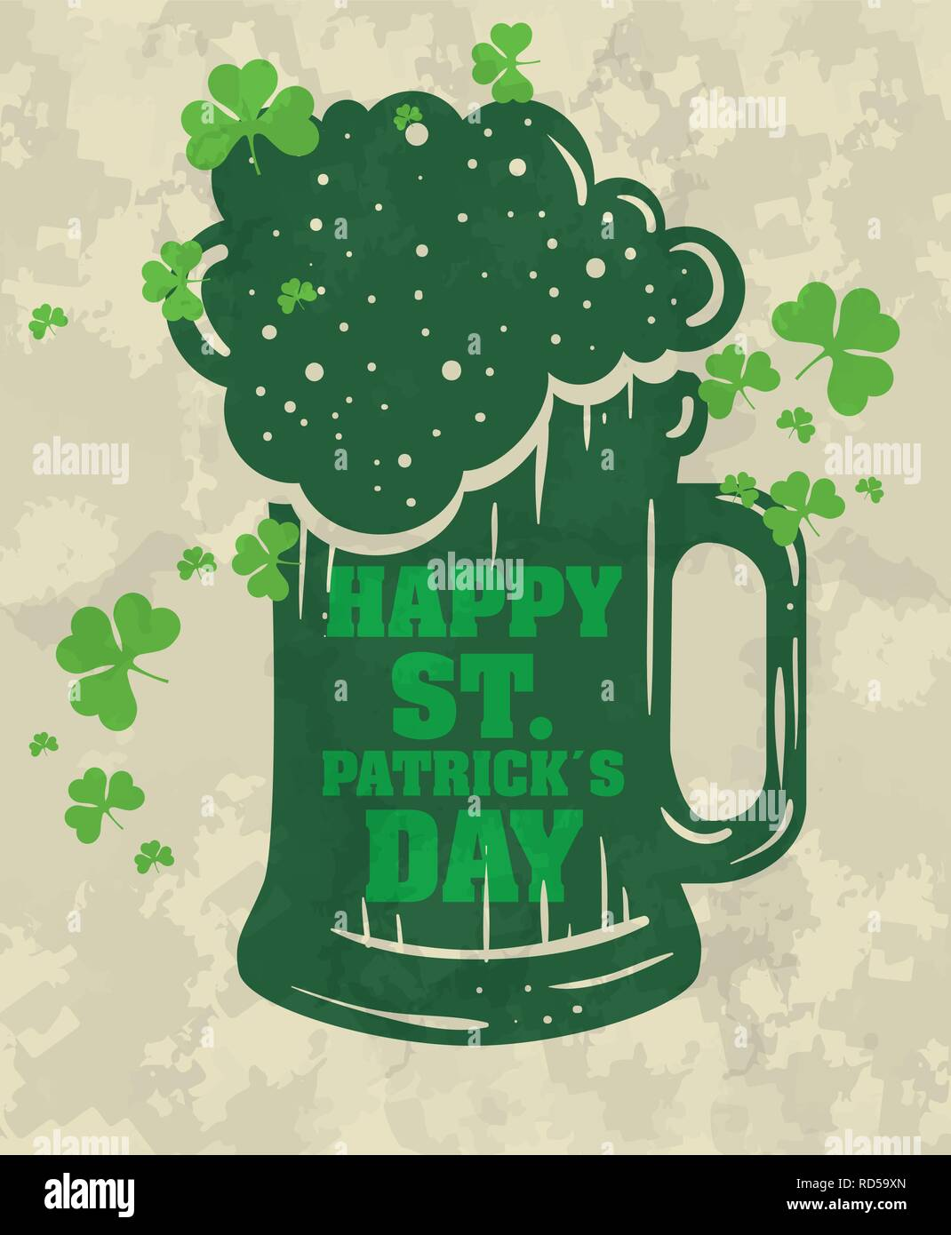 st partick celebration with beer glass and clovers - Stock Image