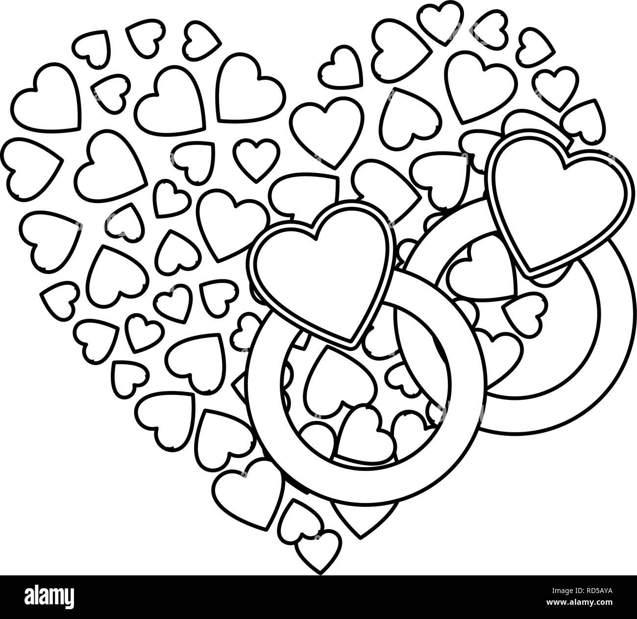 Wedding Rings Heart Love Happy Valentines Day Vector Illustration