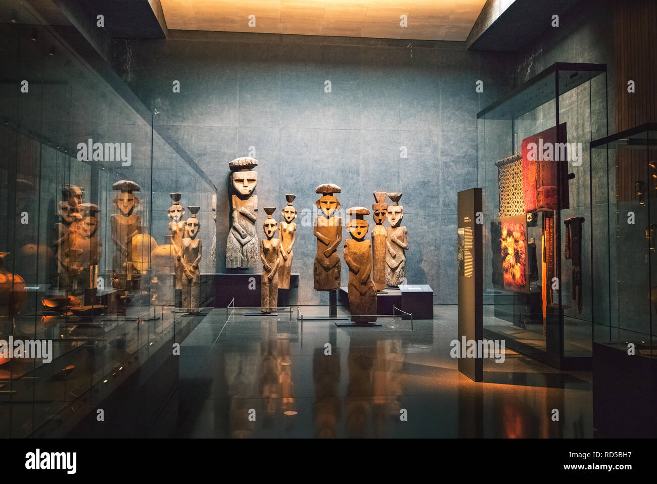 Chemamull wood statues at Pre-columbian Art Museum - Santiago, Chile Stock Photo