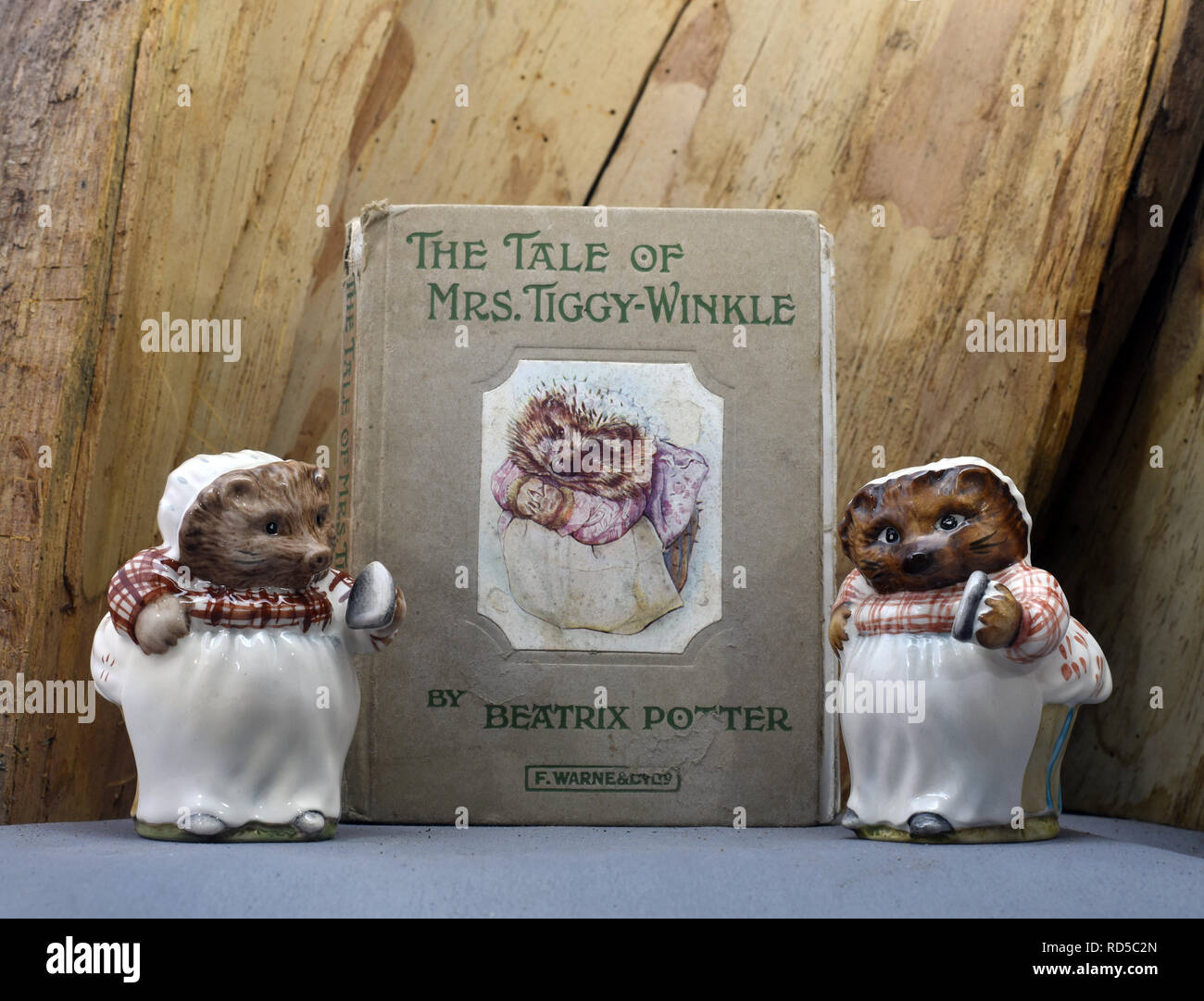 Vintage Beatrix Potter book of the Tale of Mrs Tiggy-Winkle and two Beswick Pottery figures. Still Life - Stock Image
