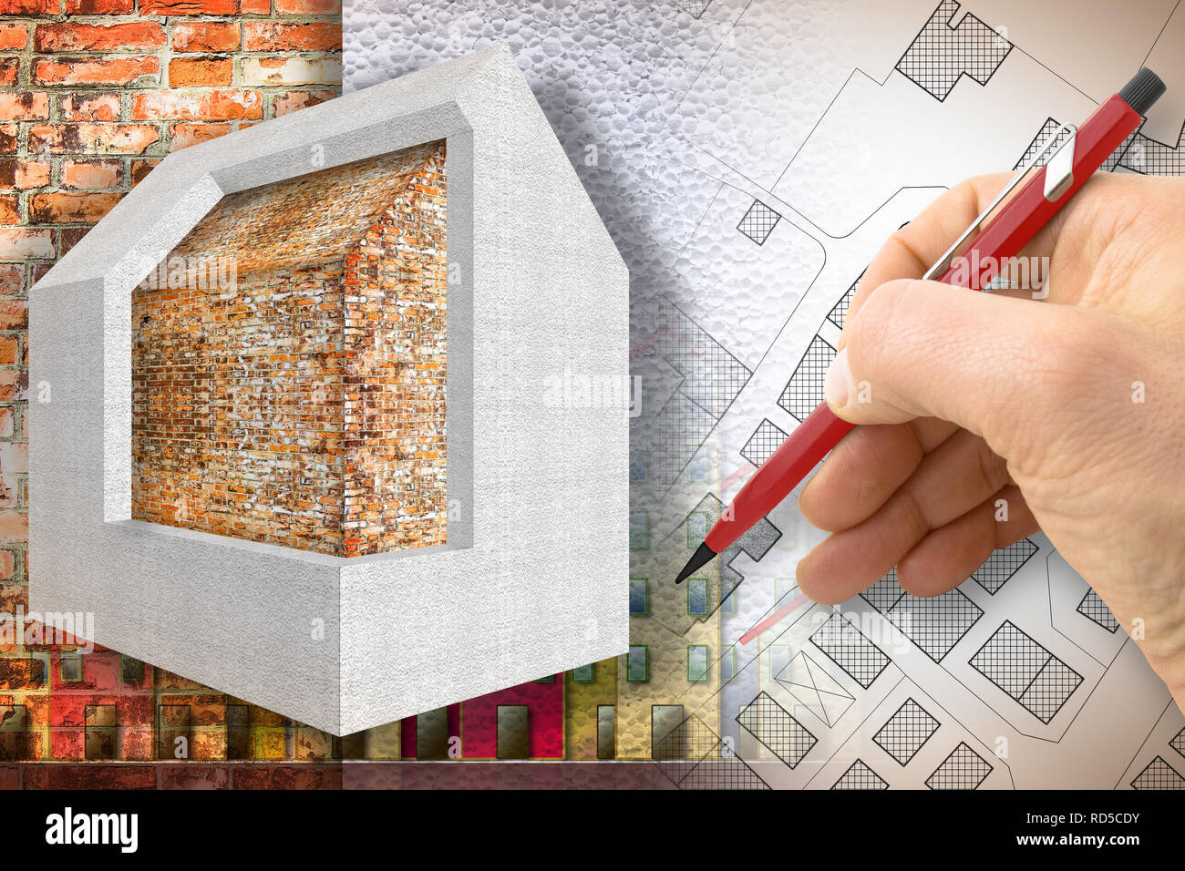 Thermal insulation design of old buildings to improve energy efficiency and reduce thermal losses - 3D render concept image - Stock Image
