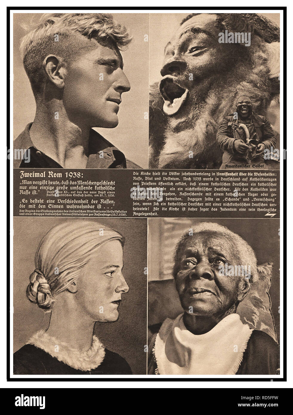 1938 Vintage Nazi German Racist Propaganda Press article. Stereotype images portraying the purest stock of Aryans according to Nazi ideology, the Nordic people of Germany, compared to other Nazi designated 'inferior' race stereotypes. Stock Photo