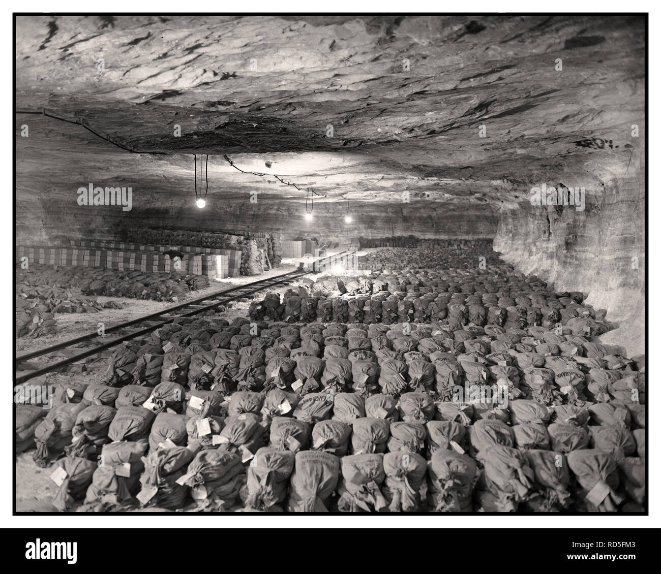 NAZI LOOT Hidden stashed in a salt mine. The 90th Division, U.S. Third Army, discovered this Third Reich wealth, SS looted gold money and museum paintings that were removed from Nazi Berlin to a salt mine vault in Merkers, Germany 1945 - Stock Image