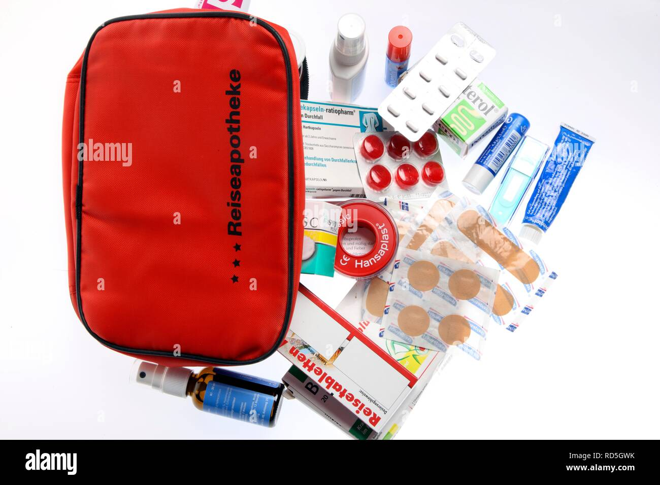 First-aid kit, drugs and bandages - Stock Image