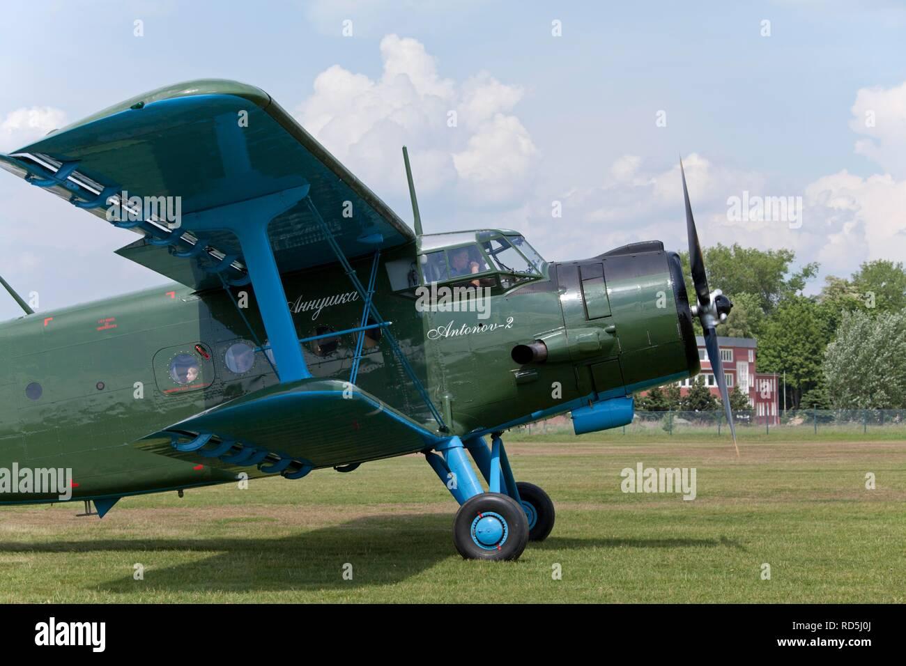 Antonov-2 biplane, celebration of the 100th anniversary of the airfield, in Lueneburg, Lower Saxony, Germany Stock Photo