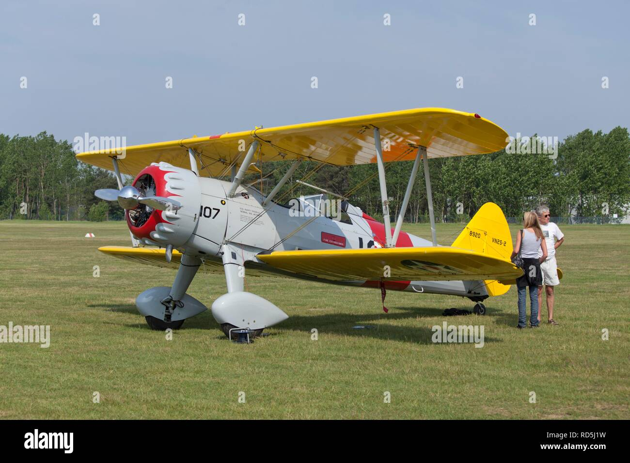 Biplane, celebration of the 100th anniversary of the airfield, in Lueneburg, Lower Saxony, Germany Stock Photo