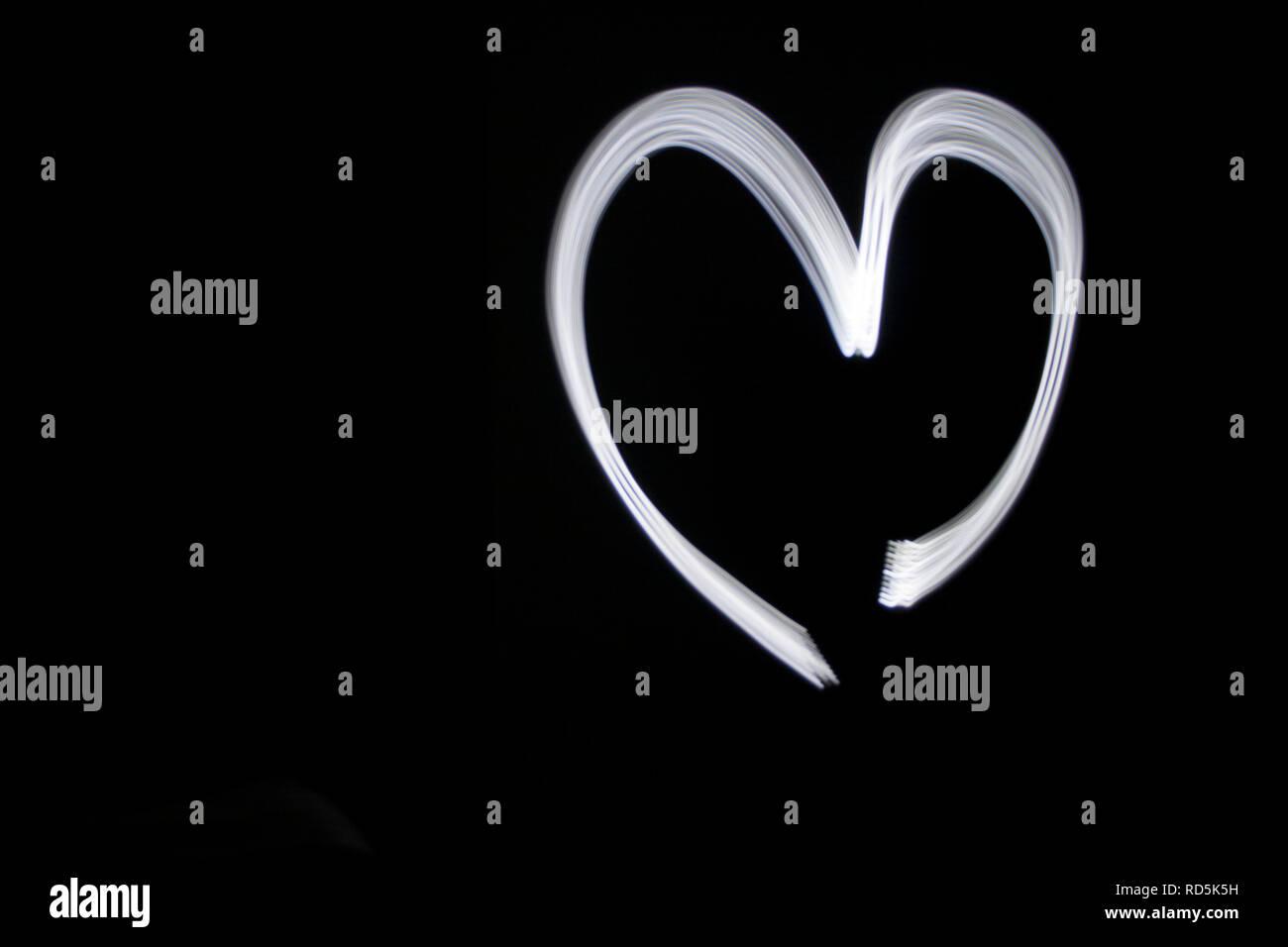 Heart Light Painting Stock Photo