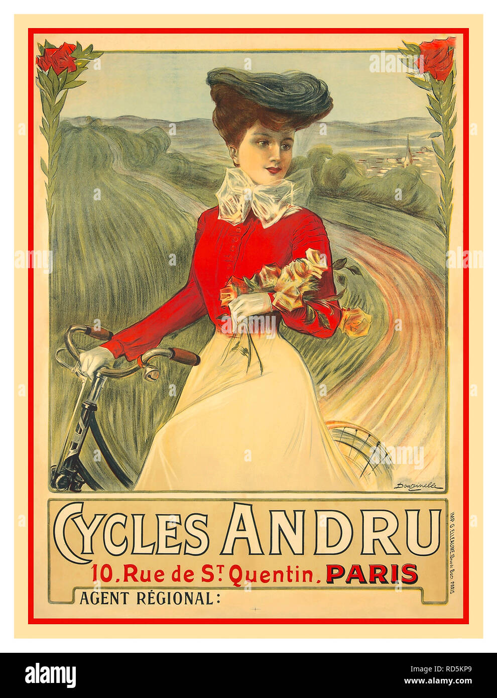 BICYCLE POSTER Vintage 1890 s French Advertising Poster  Cycles Andru   Vintage Poster (artist  cabd1e3a1