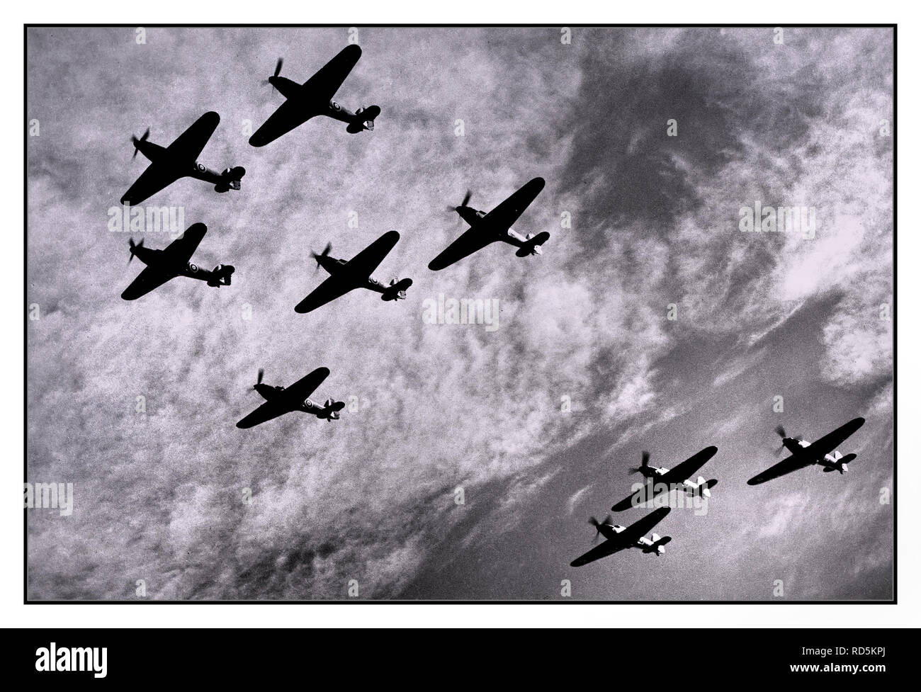 HAWKER HURRICANE Vintage WW2 Battle of Britain Squadron formation of Hawker Hurricanes of RAF Fighter Command, on patrol against Nazi German bombers attacking Britain in 1940 - Stock Image