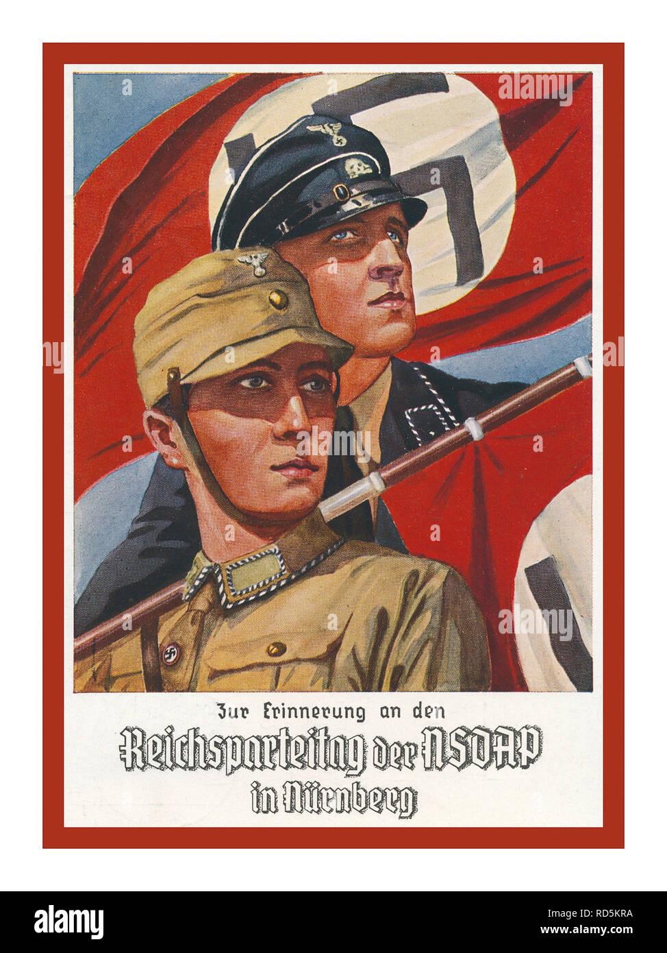 Vintage NSDAP German Propaganda 1936, Reichsparteitag-Karte mit SA- und SS-Mann mit Fahnen Swastika Flags - Stock Image