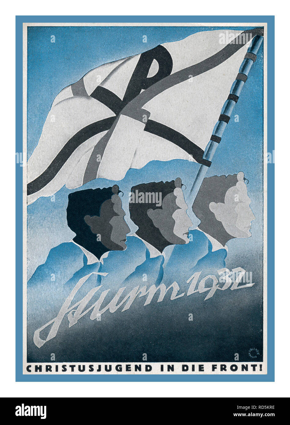 """Vintage German Reich propaganda 1932 poster 'Christian Youth at the Front of the Storm"""". A right wing German religious purist ideology with Christian youth leading at the front against a storm... - Stock Image"""