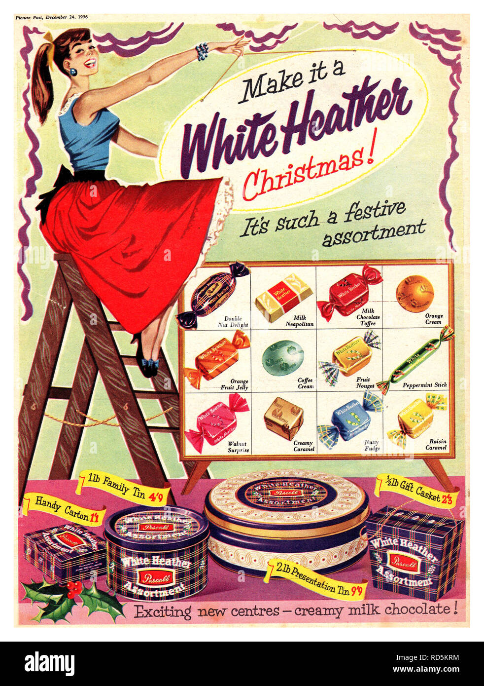 WHITE HEATHER ASSORTMENT  Vintage press advertisement 'PICTURE POST' Christmas 1956 for various sized tins of chocolate confectionary sweets including a 2lb Presentation Tin priced at 9/9 pre decimal £sd - Stock Image