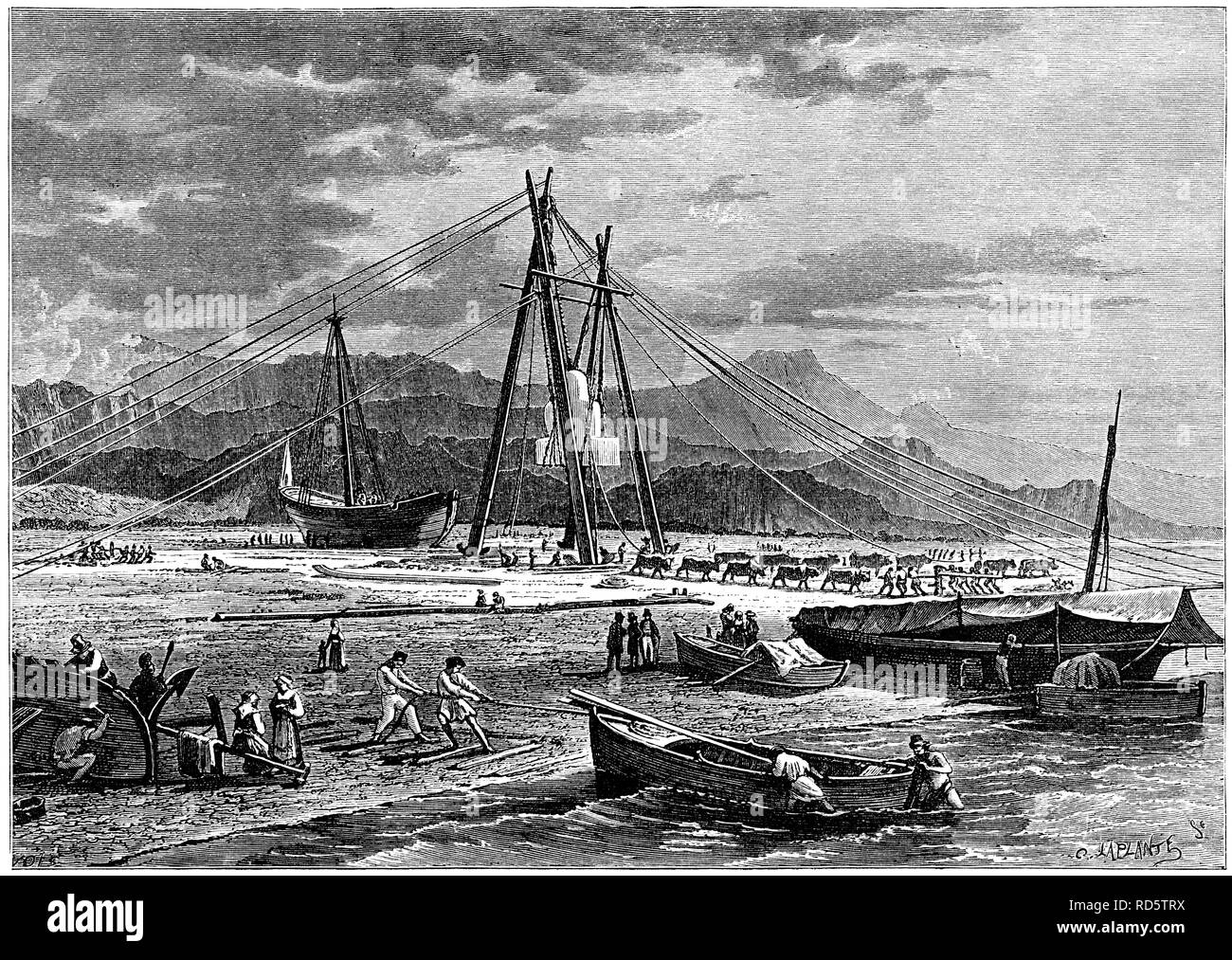 Transporting cut marble clocks, Avenza, Italy, from The Mediterranean Illustrated, Nelson, London, 1880 Stock Photo
