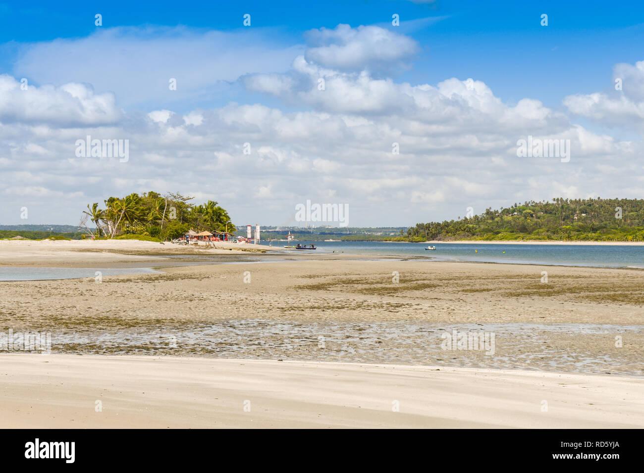 Coroa do Aviao islet on the left and Itamaraca island on the right - Pernambuco, Brazil - Stock Image