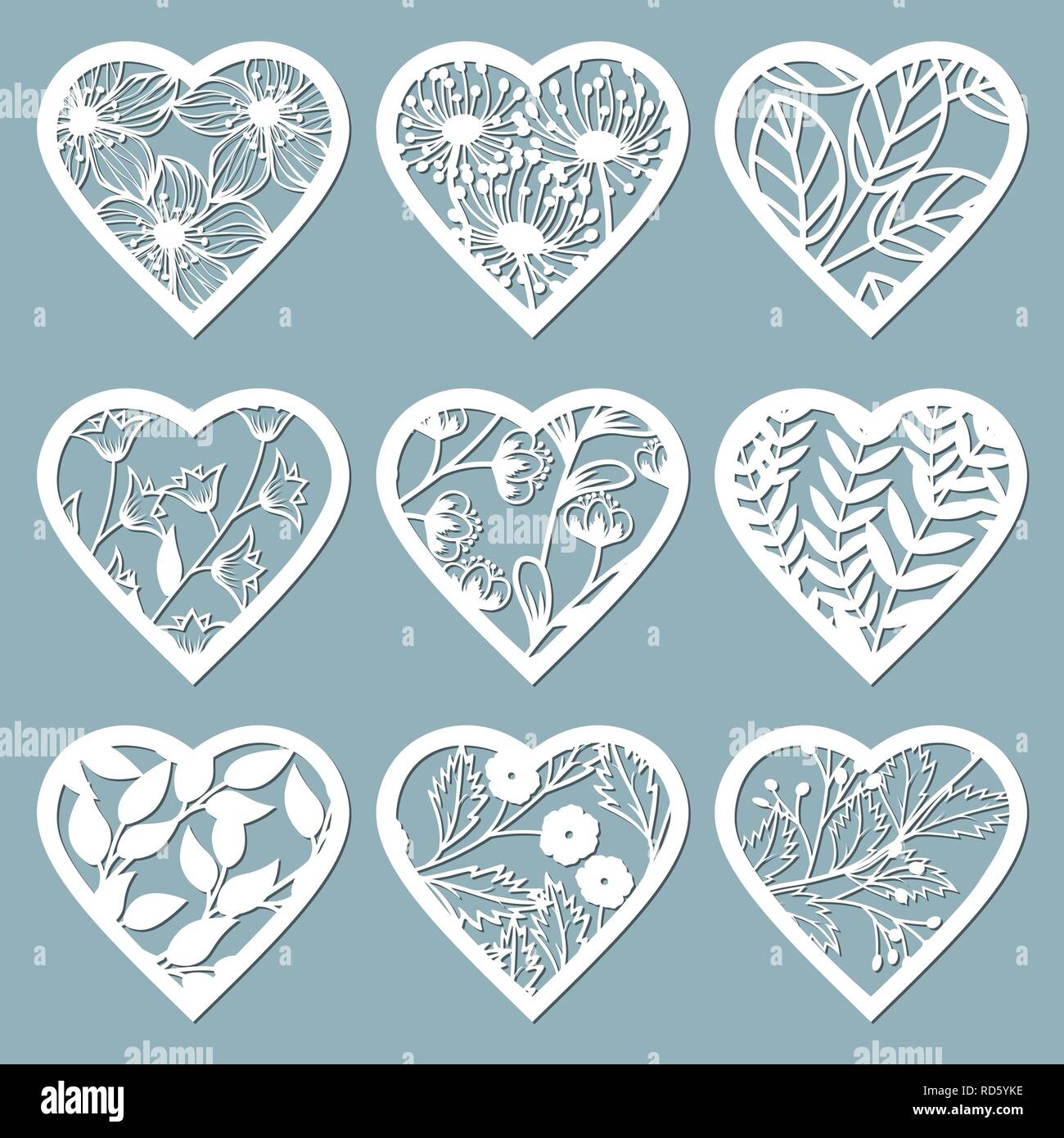 Set stencil hearts with flower  Template for interior design