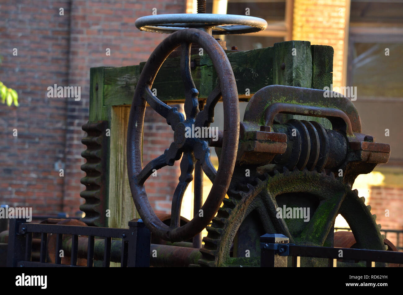 Vintage Industrial Water Control Dam Gate Valve from a Woolen Mill - Stock Image