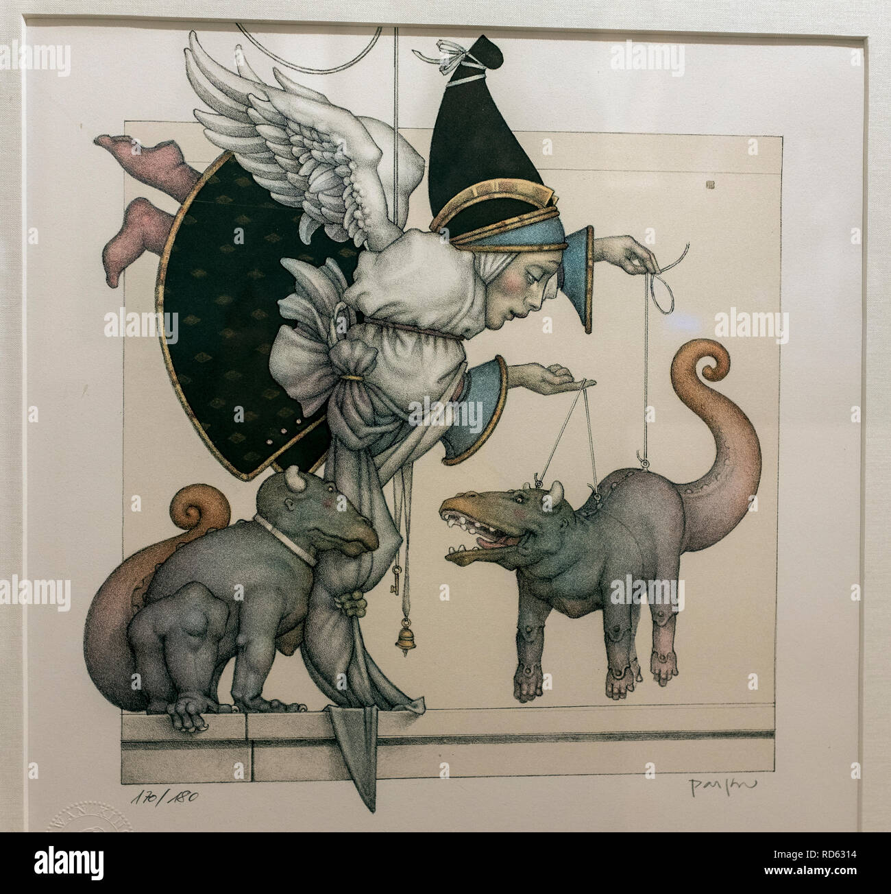 Michael Parkes, magical realist painter: (detail) 'The Puppet Collector'hand pulled stone lithograph - Stock Image