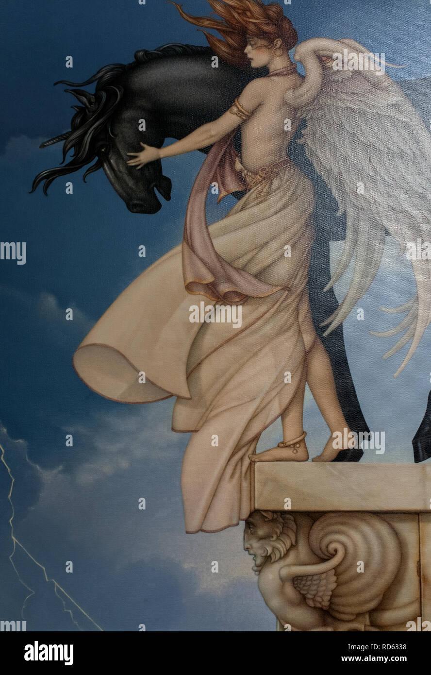 Michael Parkes, magical realist painter: (detail) 'Dark Unicorn' masterworks on canvas - Stock Image