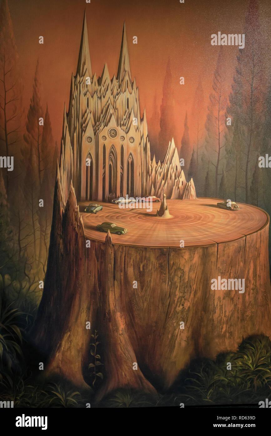 Russian born surrealist painter Vladimir Kush: (detail) 'Twilight in the Small Town' original art - Stock Image