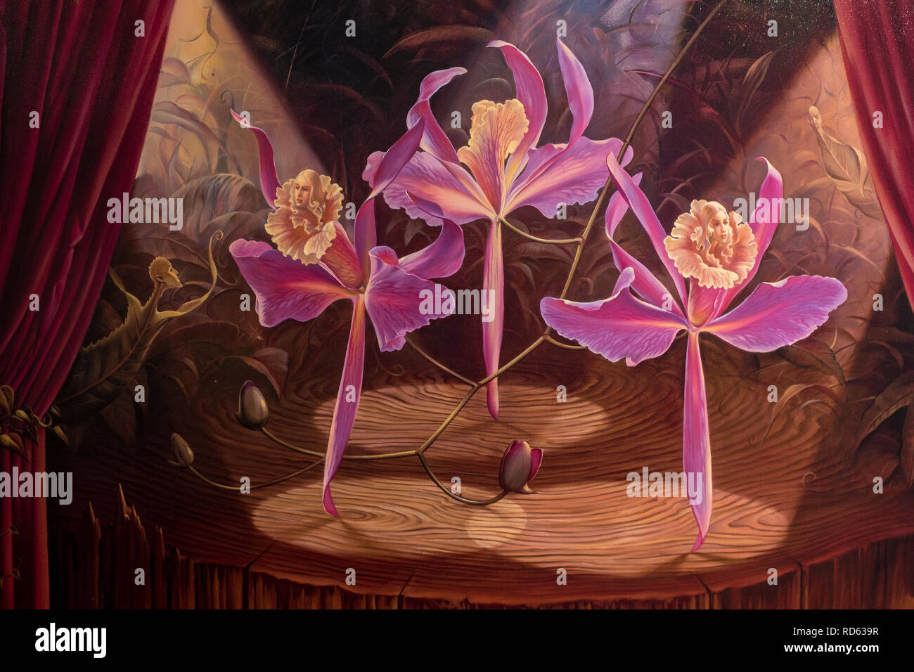 Russian born surrealist painter Vladimir Kush: (detail) 'Purple Dancers' hand signed limited edition - Stock Image