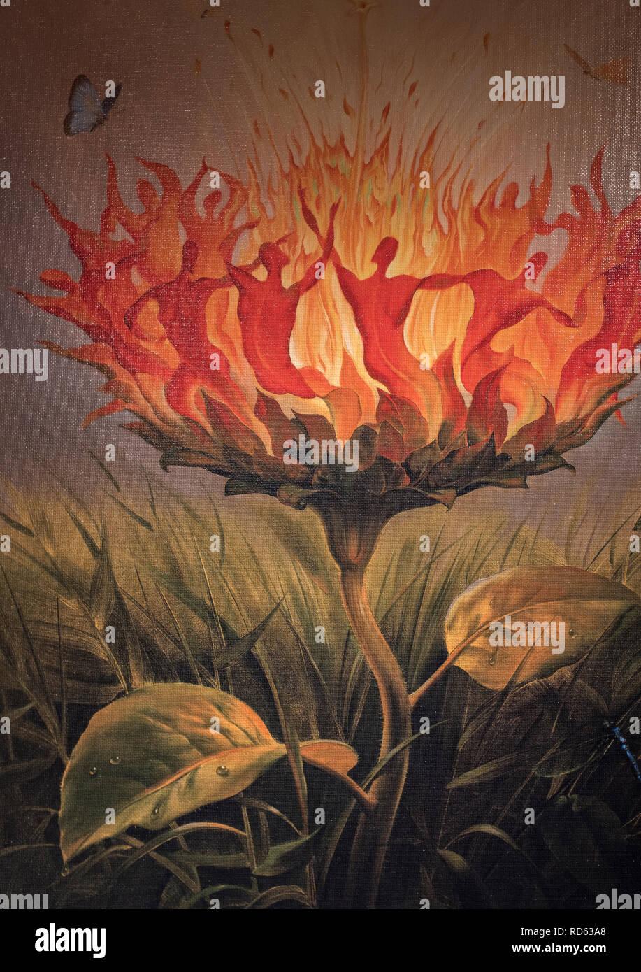 Russian born surrealist painter Vladimir Kush: (detail) 'Fiery Dance' hand signed limited edition - Stock Image