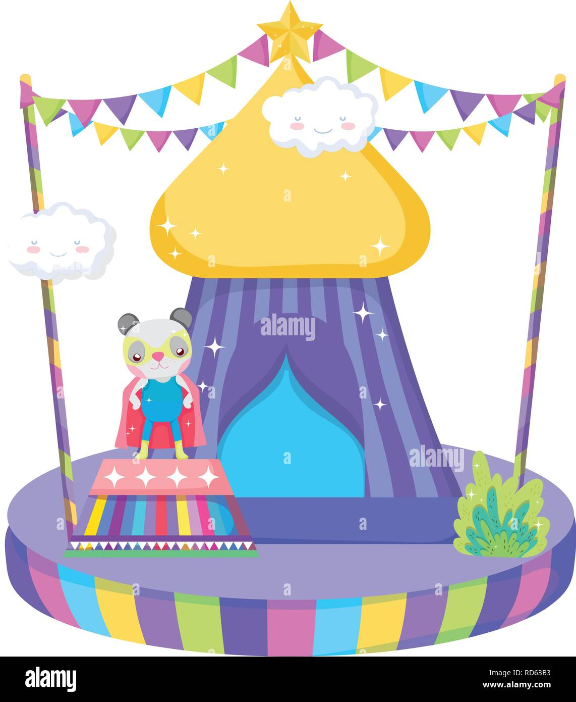 cute circus cat with layer and tent - Stock Vector