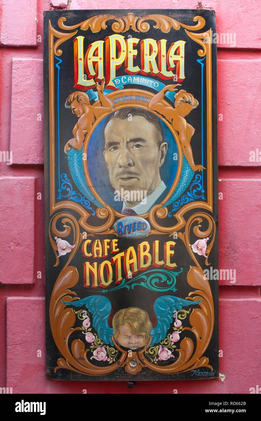 Sign, La Perla Cafe Notable, El Caminito street, Edmundo Rivero, Tango singer, La Boca district, Buenos Aires, Argentina - Stock Image