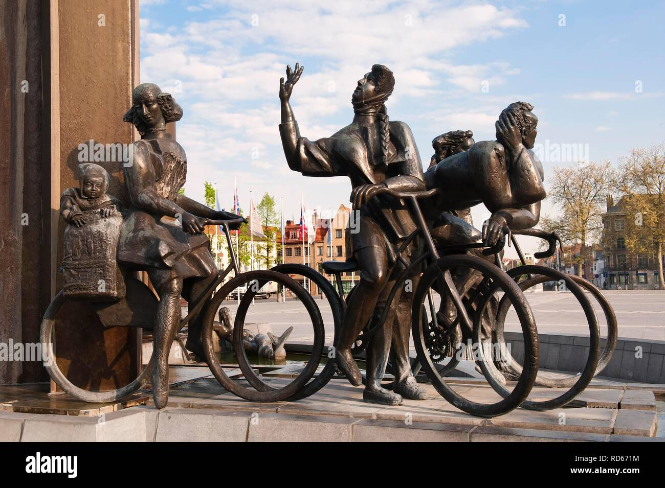 Statues at T'Zand Square, Bruges, Belgium, Europe - Stock Image