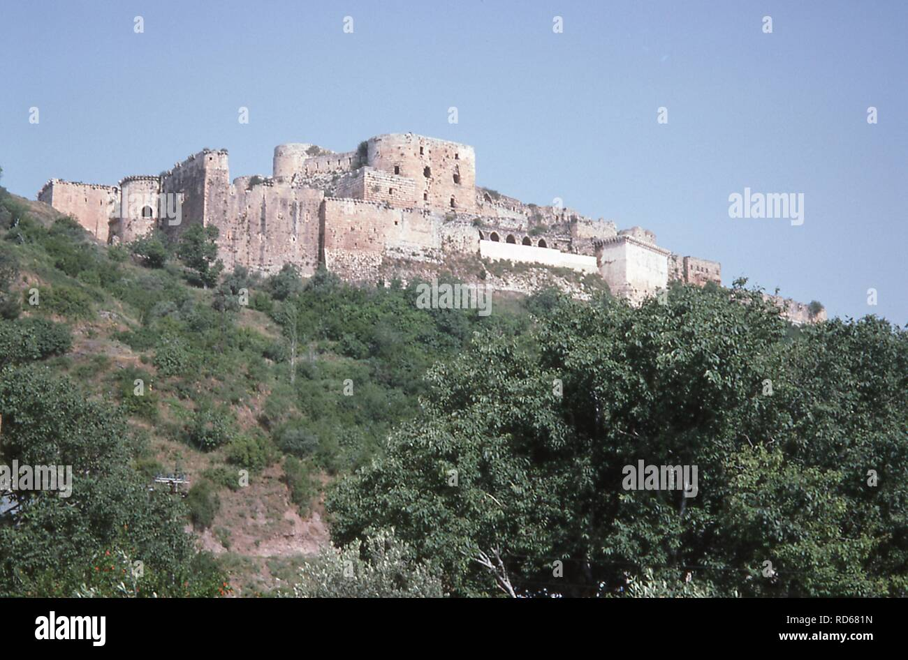 View of the medieval fortress of Qalaat al-Madiq, near the ancient city of Apamea, Syria, June, 1994. () - Stock Image