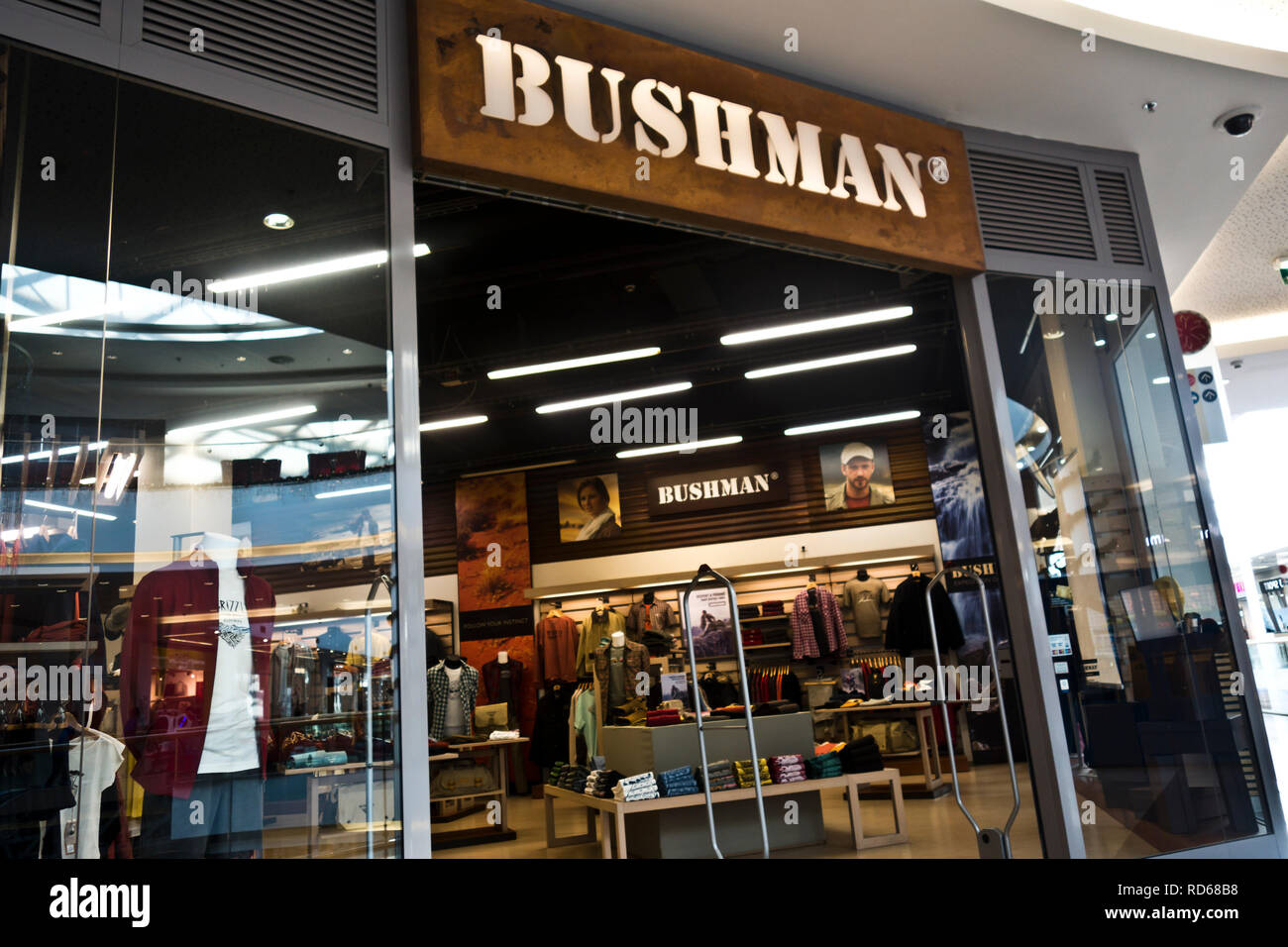 entrance of a Bushman clothing store - Stock Image