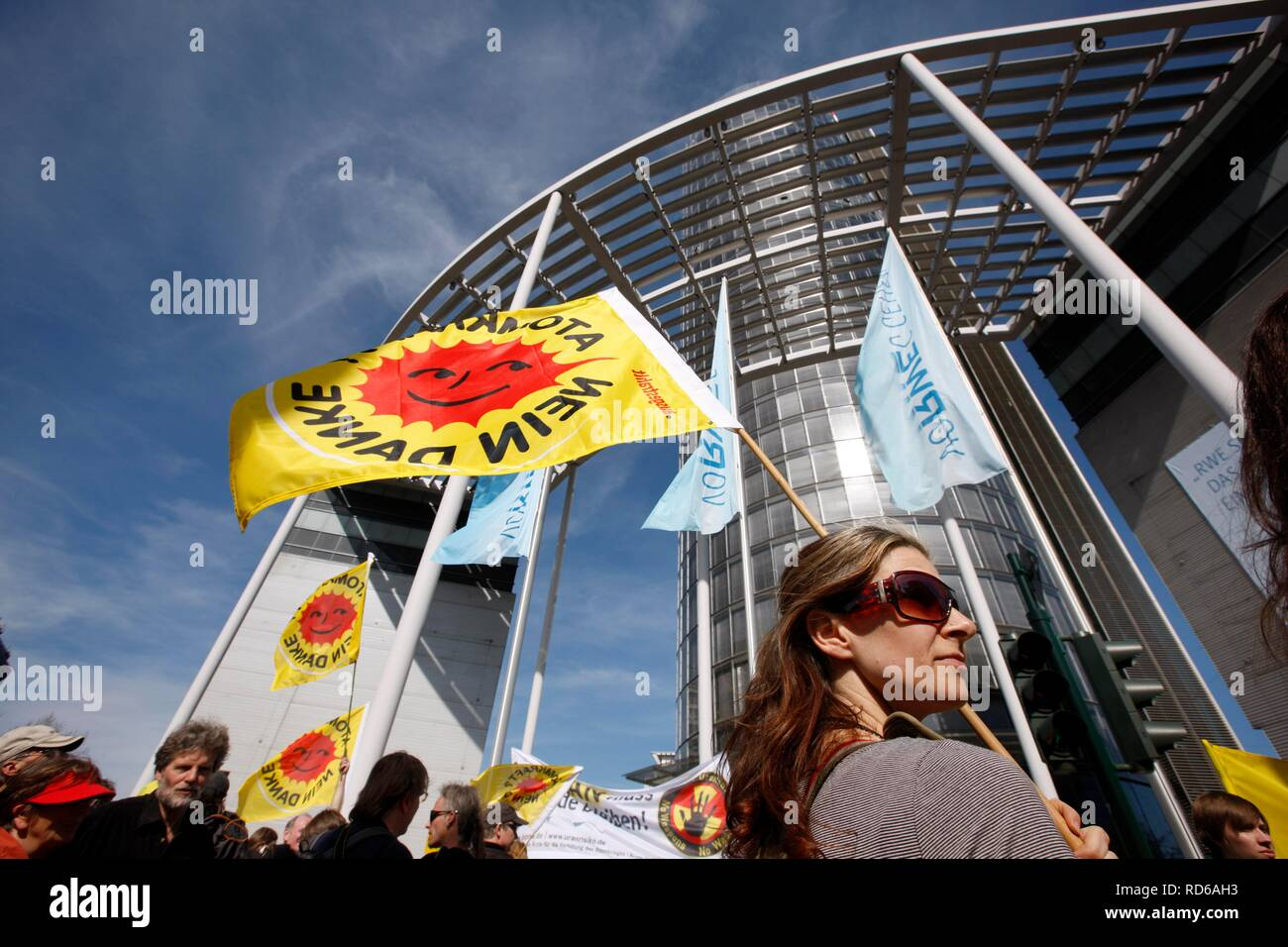 Anti-nuclear demonstration outside the headquarters of the RWE energy company in Essen, North Rhine-Westphalia Stock Photo