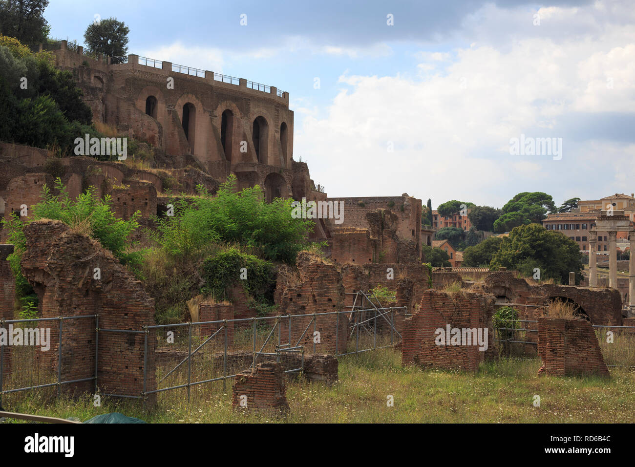 The Roman Forum (Latin: Forum Romanum), sometimes known by its original Latin name, is located between the Palatine hill and the Capitoline hill of th Stock Photo