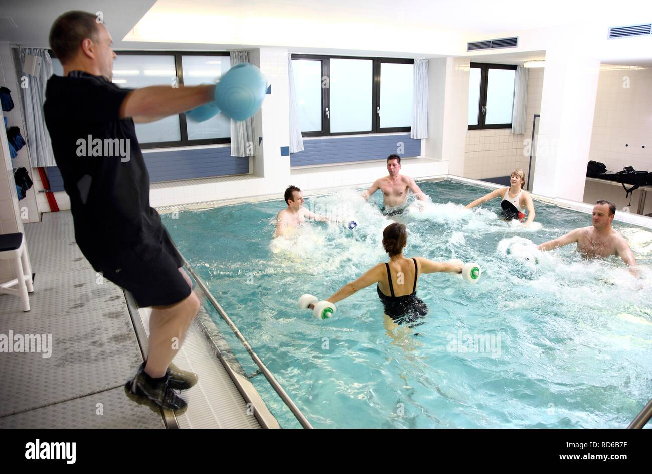 Aqua aerobics, water aerobics, exercise therapy, physiotherapy in water, e.g. as a rehabilitation program - Stock Image