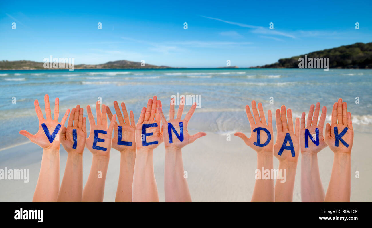 Many Hands Building German Word Vielen Dank Means Thank You