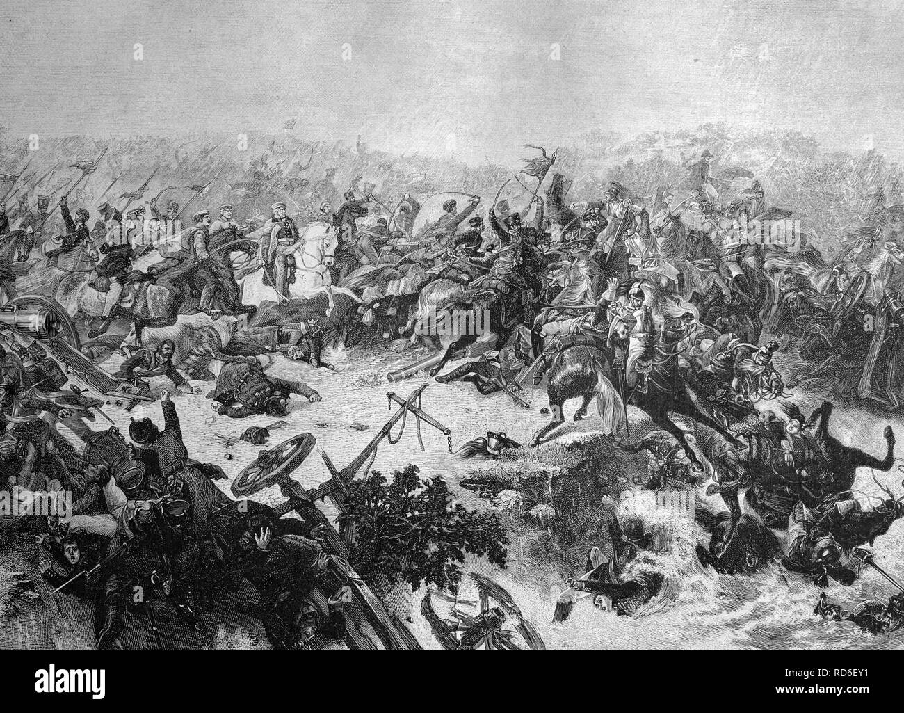 Field marshall Bluecher in the Battle of Katzbach, Lower Silesia, Poland, historical illustration circa 1893 - Stock Image
