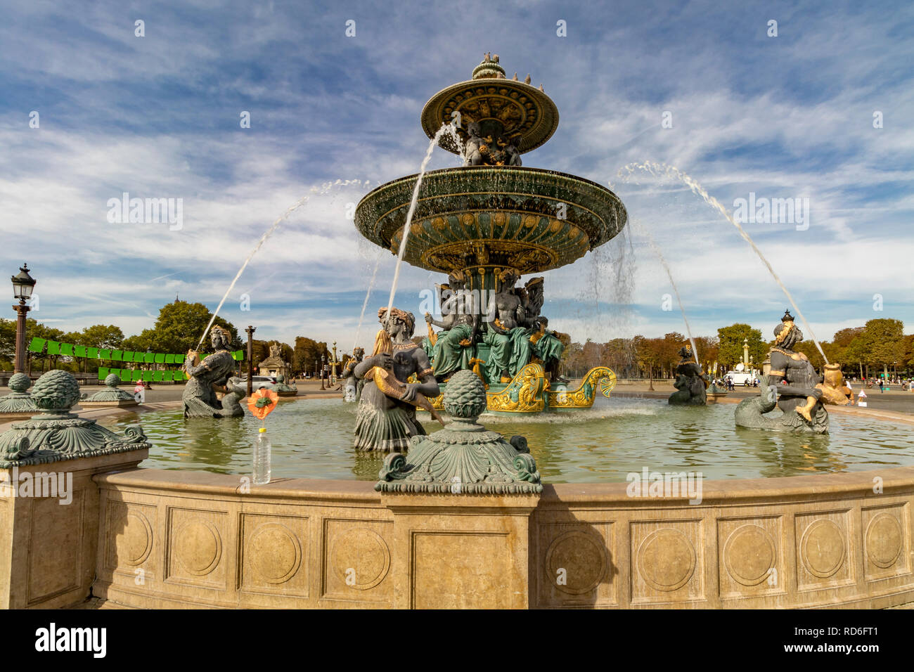 The Fountain of River Commerce and Navigation, one of the two Fontaines de la Concorde ,or Fountains at The Place de la Concorde - Stock Image