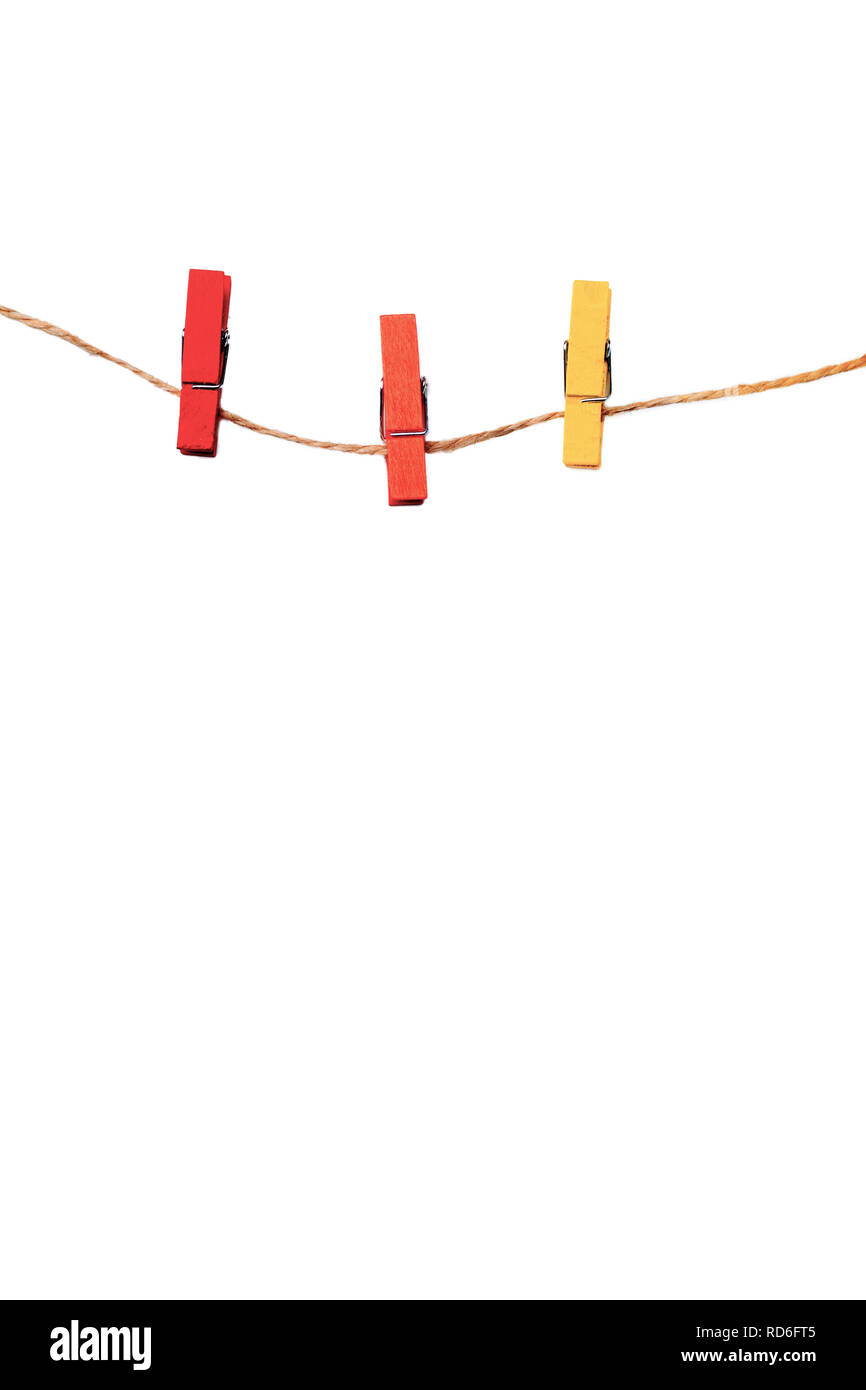 colorful wooden clothespin isolated on white background Stock Photo