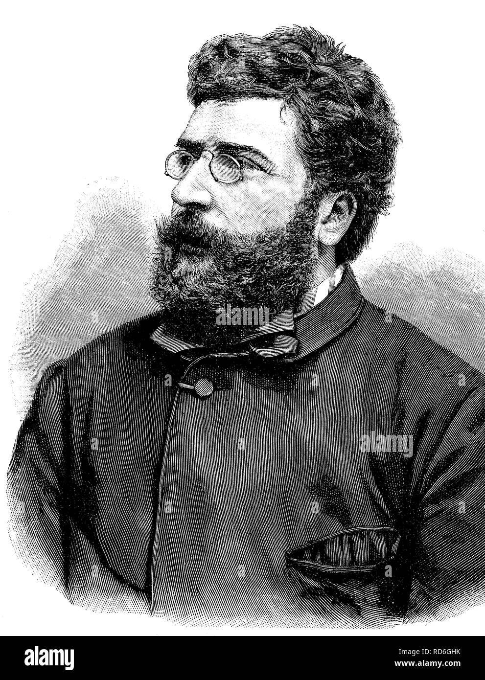 Georges Bizet, 1838 - 1875, French composer, historical illustration circa 1893 - Stock Image