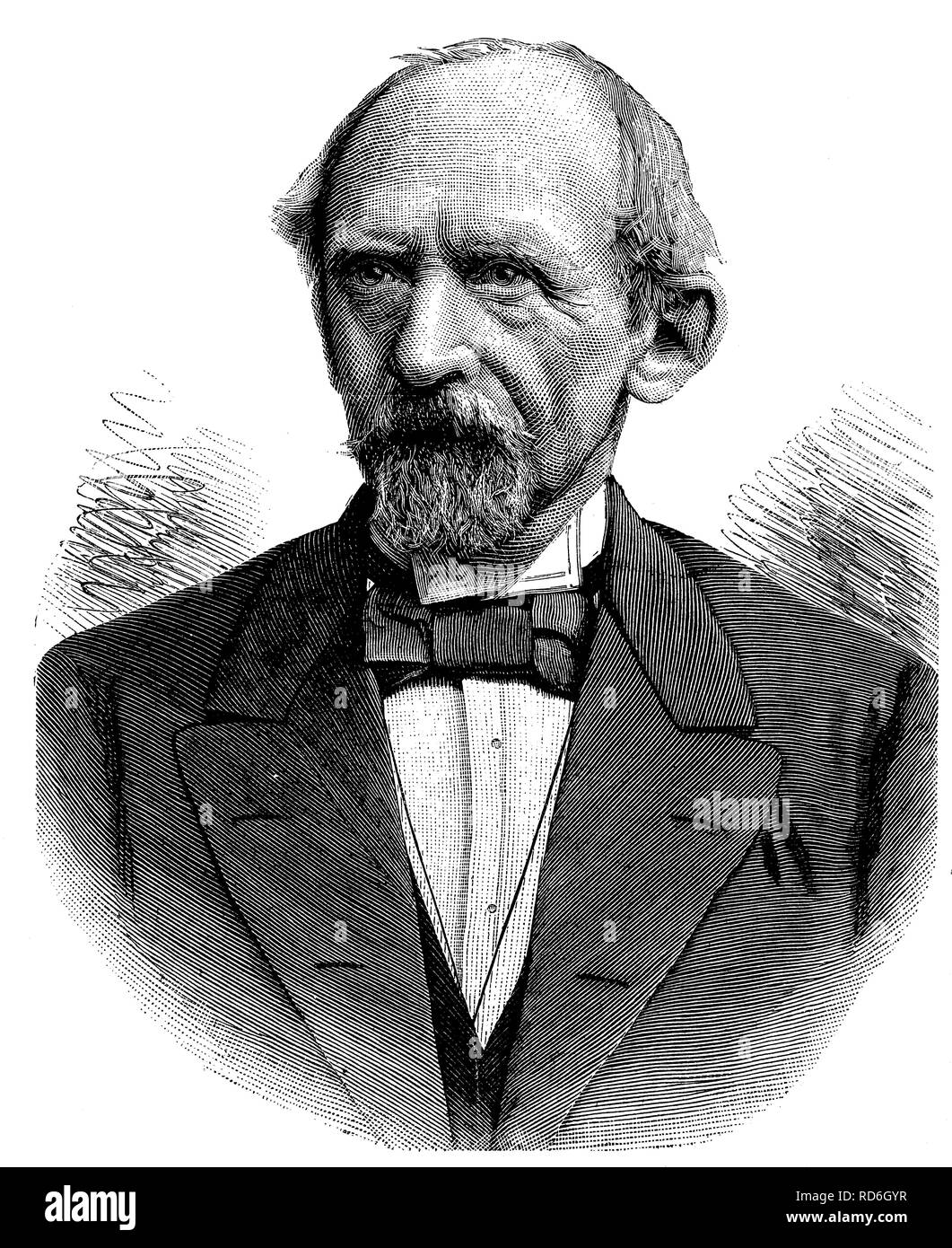 Lothar Bucher, 1817 - 1892, politician, publicist and close aide of Bismarck, historical illustration circa 1893 - Stock Image